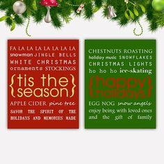 Christmas Art Print Set Christmas Art Christmas Prints