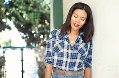 flannel, ootd, style blogger, style me grasie, high waisted jeans, red lips