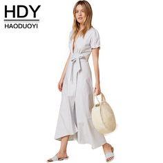 HDY Haoduoyi 2016 New Fashion Woman Deep V Neck Casual Loose Tops Asymmetrical Striped Short Sleeve Shirt Waist Tie Bow Dress