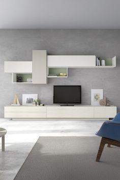 Salón modular de estilo moderno que combina muebles bajos con módulos colgantes. Colores totalmente personalizables a tu gusto. #salonesmodernos #comedoresmodernos #mueblesmodernos