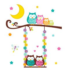 Owl Tree Swing Wall Art Mural Decal Woodland Forest Animal Girl Nursery Stickers #decampstudios