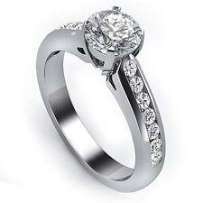 .80 CARAT ROUND CUT DIAMOND ENGAGEMENT WEDDING RING CHANNEL SET 14K WHITE GOLD Round Cut Diamond, Channel, White Gold, Wedding Rings, Engagement Rings, Ebay, Jewelry, Enagement Rings, Jewlery