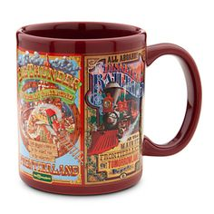 Disney Parks Attraction Poster Mug - Maroon - Pirates of the Caribbean, Country Bear Jamboree, Big Thunder Mountain Railroad, and Disneyland Railroad - $14.95