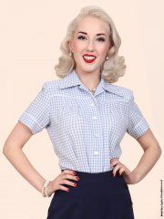 JoJo Blouse Blue Crepe Gingham