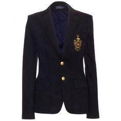 Polo Ralph Lauren Custom Embroidered Blazer ($315) ❤ liked on Polyvore featuring outerwear, jackets, blazers, blue, polo ralph lauren, embroidered blazer, embroidered jacket, embroidery jackets and blue jackets