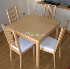 Mesa y 4 sillas. 2ª mano, 120 €