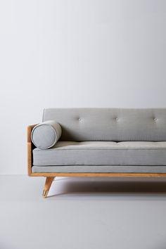 No. 5 Series - Modern Sofa, Chaise, Sectional | Kalon Studios US Metal Sofa, Wood Sofa, Couch Furniture, Living Room Sofa Design, Room Design Bedroom, Living Room Sets, Sofa Table Decor, Wooden Sofa Set Designs, Basement Living Rooms