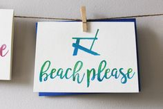 Beach Please Watercolor Blank Notecard 5 x 7 by PostmarkMiami
