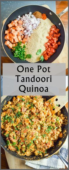 One Pot Tandoori Quinoa: hearty quinoa with sweet potato and chickpeas, spiced with garam masala and ginger. Everything cooks in one pan.