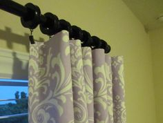 TWO Curtain Panels Damask Curtains Custom Drapes by SewPanache, $115.00
