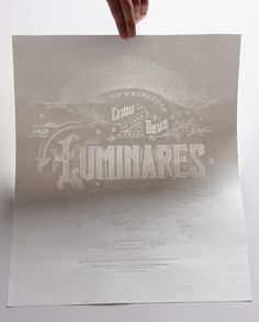 Letterforms and bifurcated serifs and borders and corners and size differentiation and shadows — you name it, he utilizes it! Luminares by Kevin Cantrell