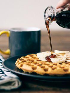 Sweet potato waffles with cacao nibs