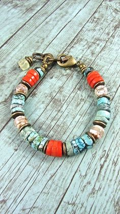Beach Boho Bracelet Coral and Turquoise