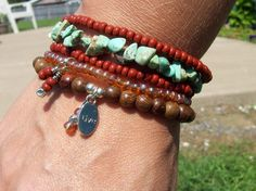 Bohemian Chic Beaded Stretch Stack Bracelets - Wood Bracelet with Inspirational LIVE Charm by Angelof2, $26.00