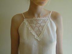 Crochet Detail Linen Night Robe.