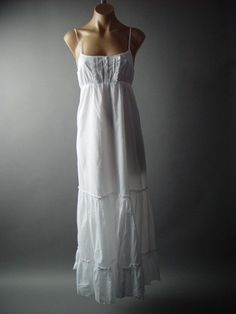 Victorian Boho Peasant Petticoat Empire Waist Long Chemise Slip 64 ac Dress M/L #Other #EmpireWaist #Casual