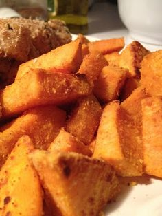 Roasted Sweet Potatoes with parm, garlic, paprika and cayenne
