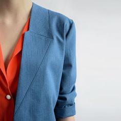 by, SANNE JANSEN, old school blue denim jacket with stitched in lapels Top Coat, Couture, Suits For Women, Collars, Style Inspiration, Blazer, Sewing, Womens Fashion, Jackets