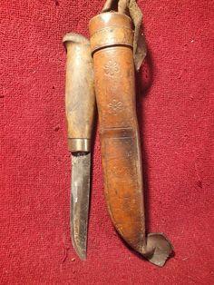 VINTAGE OLD HANDMADE SHARP KNIFE PUUKKO w NICE LEATHER SHEATH FINLAND FINNISH  | eBay