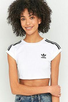 adidas Originals - Haut court à 3 bandes blanc Haut, Blanc, Hauts Blancs À 25d2c737328b
