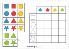 Kształty i kolory - łączenie cech - Printoteka.pl Preschool Learning Activities, Preschool Curriculum, Preschool Worksheets, Preschool Activities, Kindergarten, Speech Therapy Games, Material Didático, Page Borders Design, Shapes Worksheets