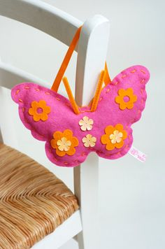 Pink Felt Hanging Butterfly Sewing Kit by kittykaymakeandsew, £10.00