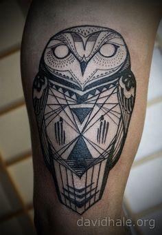 Beautiful owl tattoo by artist David Hale.