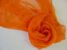 Seidenschal 180x55cm karotte orange Chiffon Stola  von Textilkreativhof auf DaWanda.com