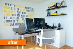 a great idea for a home office... check out the function of the office desk ... {next pic}