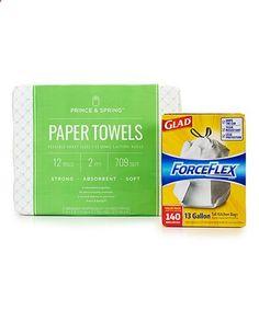 Prince & Spring Paper Towel & Glad ForceFlex Kitchen Bag Set #zulily #zulilyfinds