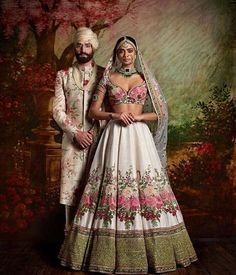 Wedding day attire for the couple by Sabyasachi - Elegance personified!