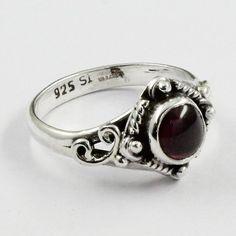 Garnet Stone Baccha Design 925 Sterling Silver Ring by JaipurSilverIndia on Etsy