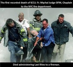 Father Judge - 2001 - New York City Fire Department chaplain, the Rev. Mychal Judge, is carried away from the World Trade Center wreckage on September The chaplain lost his life after being crushed by falling debris while giving a man his last rites. 911 Never Forget, Kings & Queens, Moslem, Powerful Pictures, Religion, Catholic Priest, Roman Catholic, Catholic School, Into The Fire