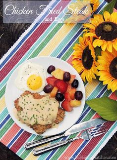 Chicken Fried Steak and Eggs - This recipe, for a classic diner dish, update by using thin cut beef rib eyes, and beautiful sunny side up eggs, makes for a delicious protein packed weekend breakfast! #SundaySupper From  www.bobbiskozykitchen.com