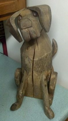 Folk Art Wooden Timber Carved Wagging Tail Dog Hound