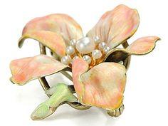 Krementz Dogwood Blossom Brooch Art Nouveau