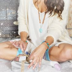 the calm mala, socks + silver little presents tied up with string, these are a few of our favorite things  #tdme #malabeads #calm #mala #socks #walkwithintention #holiday #bohemianholiday #giveintention #rudraksha #sandalwood #presents