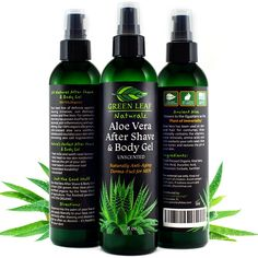 Aloe Vera After Shave & Body Gel - Unscented - Naturally Anti-Aging Derma-Fuel for Men by Green Leaf Naturals - Organic - Pump Dispenser Included - 8 Ounces Natural Aloe Vera, Organic Aloe Vera, Organic Soap, Body Gel, Lemongrass Essential Oil, Hair Removal Cream, Hair Loss Treatment, Oils For Skin, After Shave
