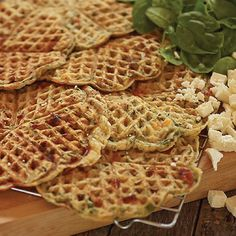 Recipe for savoury Spinach & feta Norwegian waffles Norwegian Waffles, Savory Waffles, Gluten Free Waffles, Waffle Mix, Nut Allergies, Spinach And Feta, Waffle Recipes, Different Recipes, Yummy Food