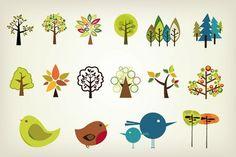 Cute Vector Trees Pack
