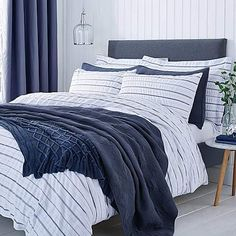 Colton Pinstripe White Bed Linen Collection | Dunelm