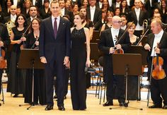 King Felipe of Spain and Queen Letizia of Spain attended the 'XXIV Music Week' closing concert at the Principe Felipe Auditorium during the 'Princess of Asturias Awards 2015' on October 22, 2015 in Oviedo,Spain.