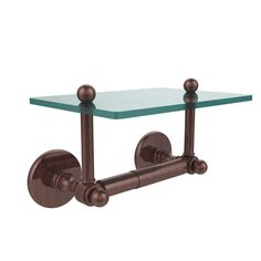 Allied Brass Prestige Skyline Collection Double Post Toilet Paper Holder with Glass Shelf in Antique Copper