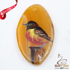 Hand Painted Bird Agate Slice Gemstone Necklace Pendant Jewlery D1707 0121 #ZL #Pendant
