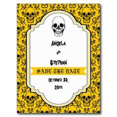 Skulls damask yellow black Halloween Save the Date Postcards