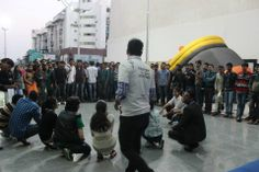 Volunteers for better India performing street play...