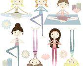 40% OFF yoga girls clipart commercial use, vector graphics, digital clip art, digital images - PGCLPK442