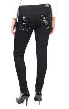 reign sequin pocket color skinny jean