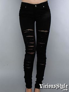 cheap ripped jeans for teens | Skinny Jeans with Fishnet Slashes - Tripp NYC - Discontinued Items ...