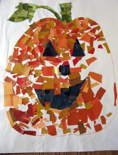 itty bitty love: a jack-o-lantern mosaic  from paint swatches!!!